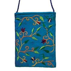 Yair Emanuel Flower Design Turquoise Embroidered Bag -- New and awesome product awaits you, Read it now  : Travel cosmetic bag