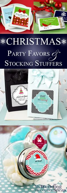 Use unique party favors personalized with a cheerful holiday design and custom print at your annual Christmas party or dinner. These Christmas favors and more can be ordered at http://myweddingreceptionideas.com/holiday_party_table_favors.asp