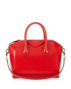 Antigona Small Leather Satchel Bag, Red  by Givenchy at Neiman Marcus.