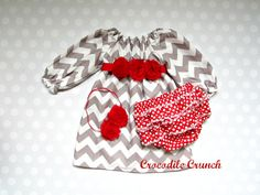 Baby Girl Gift Set Gray and Red Chevron and by crocodilecrunch, $48.00