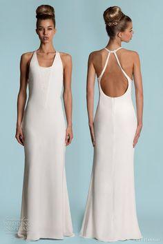 "Lara Hannah Spring 2013 ""Vine"" halter neck bias cut silk crepe wedding gown w/ scattered bugle beads"