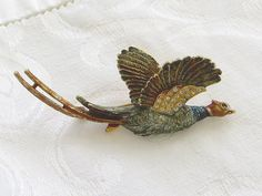 Vintage Pheasant Brooch Rhinestone and by VintageVogueTreasure