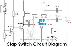 Clap Switch Circuit Using IC 555 Timer & Without Timer - Electronic Project Clap Switch Circuit Diagram electronic project Electronic Packaging, New Electronic Gadgets, Electronic Circuit Projects, Electronic Engineering, Electrical Engineering, Electronics Projects, Mini Project For Electronics, Cool Electronics, Electronics Components