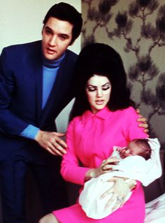 Elvis and Priscilla Presley with Lisa Marie, 1968