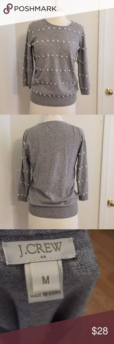 J Crew Grey Pom Sweater Size M J Crew Grey Sweater with Mint green poms. 3/4 sleeves. Beautiful Condition. Size M. Pet free/Smoke free home. J. Crew Sweaters Crew & Scoop Necks