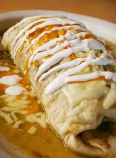 Stuffed Chicken Burrito with Garlic, Black Beans, Cheddar Cheese and Sour Cream