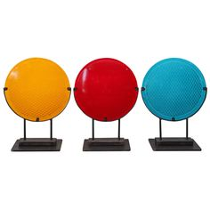 Three Colored Railroad Signal Lens Mounted On Steel Stands United States C 1930 S Modern