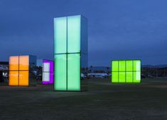 Neon mirrors by Phillip K Smith III created glowing beacons at Coachella