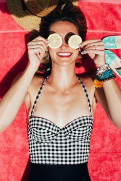 Retro gingham topshop one-piece swimsuit - LivvyLand blog