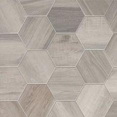 Porcelain inch, Isla Wood Look Tile. Wood hexagon tiles could be interesting look! Wood Tile Floors, Vinyl Flooring, Kitchen Flooring, Ceramic Flooring, Modern Flooring, Farmhouse Flooring, Slate Flooring, Linoleum Flooring, Flooring Options