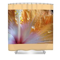 Golden Hibiscus Shower Curtain by Kaye Menner