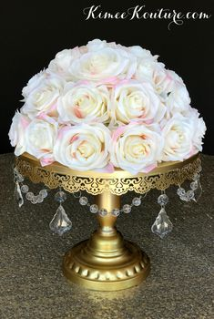 IVORY BLUSH  Centerpiece Rose Arrangement. IVORY Roses with Pink Blush edges. Ivory Wedding Centerpiece. Ivory Half Ball Rose Arrangement