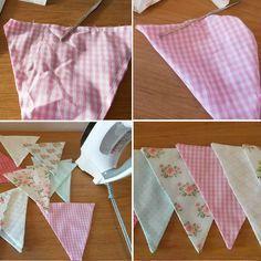 Bandeirolas são super bem-vindas na decoração dos quartos de bebês e nas festas feitas em casa! Aprenda a fazer bandeirola de tecido!