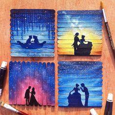Disney couples 😍 or Best of Disney Art by Fari ( Disney Canvas, Art Disney, Disney Kunst, Disney Ideas, Toile Disney, Art Mini Toile, Popsicle Stick Art, Art Du Croquis, Disney Paintings
