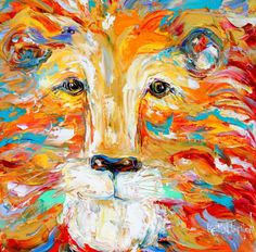 Original oil #painting Portrait of a #Lion Palette by Karensfineart