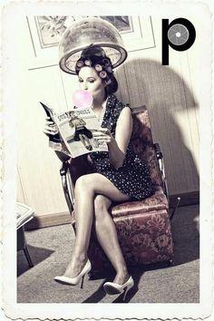 Pin up photography. Vintage yet modern. Hair salon love it