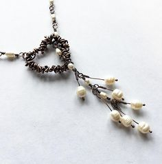 Lariat necklace with freshwater pearls and hand forged copper heart
