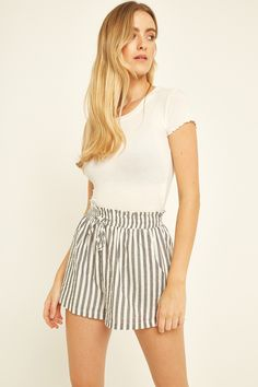 Shell: Cotton / Lining: Viscose Cold Gentle Handwash - See label for full care guidance The model is tall, and wears a size 8 Boho Shorts, Casual Shorts, Polo Jeans, Skirt Pants, Striped Shorts, Black Stripes, Short Dresses, Model, Cotton