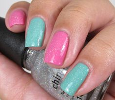 """OPI """"My Dogsled is a Hybrid"""" and OPI """"Suzi Has a Swede Tooth"""" with China Glaze """"Fairy Dust"""" as the topcoat."""