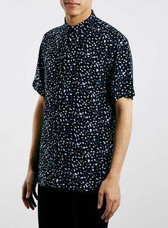 Foto 1 von Elegantes Viskose-Kurzarmhemd mit Konfetti-Print, navyblau