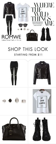 """No One Cares"" by menoly ❤ liked on Polyvore featuring Topshop, Yves Saint Laurent, DKNY and Illesteva"