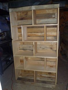 Bookcase with Pallets and other re-purposed wood. http://www.etsy.com/shop/jessicaashlock?ref=seller_info