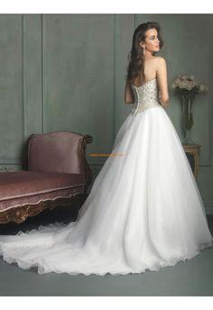 Robe de mariée 2014 organza princesse sans manches cristal avec traine