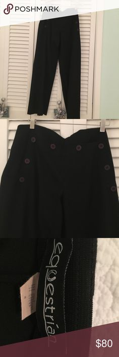 Equestrian gabardine trousers Sailor style buttons, color is black, size medium Equestrian Pants Trousers
