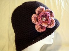 Brown and pink hat