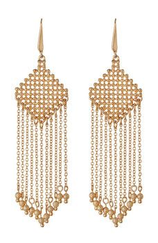 Steve Madden - Diamond-Shaped Fringe Dangle Earrings