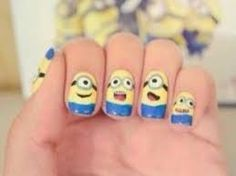 26 Unbelievable Movie Inspired Nail Art Designs Love the minions! Fancy Nails, Love Nails, Pretty Nails, Cute Nail Art, Beautiful Nail Art, Beautiful Boys, Minion Nail Art, Nail Art Designs, Nails For Kids