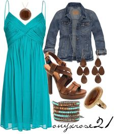 """""""Country Summer Dress"""" by onyxrose21 on Polyvore - I would have to change out shoes but I LOVE the color."""