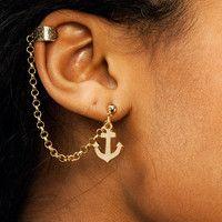 chain-link-anchor-ear-cuff GOLD SILVER - GoJane.com