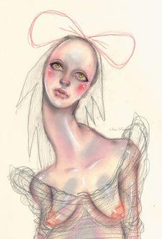 alien dresshair fashion art illustration model portrait blouse  creepy
