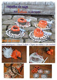 Marine Poppins | Raquettes de neige pour chèvre entièrement upcyclées - Défi de Février Sacs plastiques + vieux t shirt  + tiges métalliques et un peu de crochet