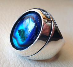 heavy men ring paua abalone shell blue oval by AbuMariamJewels
