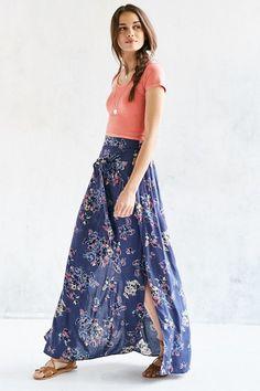 BOG Collective Floral Wrap Tie Maxi Skirt $89.00