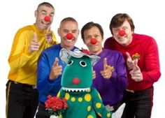 The Wiggles celebrating Red Nose Day. I love these guys. And Red Nose Day in Australia holds a special place for them personally. The Wiggles, Red Nose Day, How To Raise Money, Ronald Mcdonald, Charity, Australia, Fan, Cool Stuff, Guys