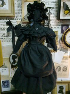 Victorian mourning Doll . Gothic Doll .