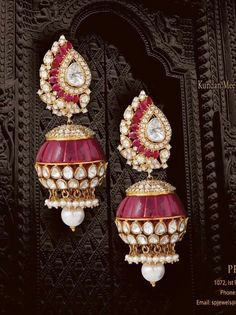 Ruby, diamond, gold, and pearl earrings Ruby Jewelry, India Jewelry, Gems Jewelry, Jhumki Earrings, Pearl Earrings, Traditional Indian Jewellery, Designer Earrings, Jewelry Collection, Diamonds