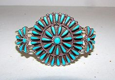 Vintage Native American Zuni Sterling Silver Turquoise Cluster Rosette Statement Cuff Bracelet by Highly Collectible Judy Wallace