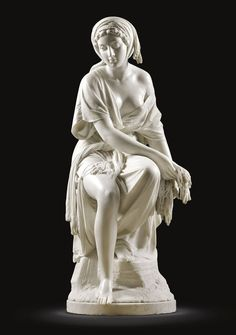 Ruth (1864), by the Italian sculptor Giovanni Battista Lombardi (1822-1880) White marble statue (117 cm) on a veined white marble column (101cm). Ruth was the first of the artist's Old Testament subjects; a series which also included his Rebecca, Deborah, Susanna and Sulamite. Lombardi subtly blends classicism with naturalism and reserve with allure. He later created a second version of Ruth, with more simplicity in the details and a more intense emotionalism in the face.