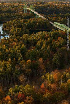 Thousand Island International Bridge, from 1000 Islands Tower, Hill Island, Ontario, Canada.