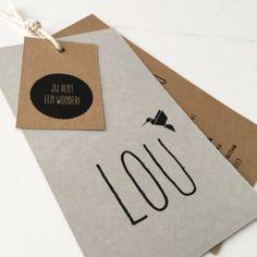 Geboortekaart jongen grijsboard kraftkarton #geboortelabel #stoeregeboortekaart #labelkaart #geboortekaartjongen #graphicdesign #huisengrietje