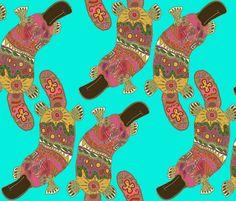 duck-billed platypus fabric by scrummy on Spoonflower - custom fabric    OMG PLATYPUS FABRIC !!! :)