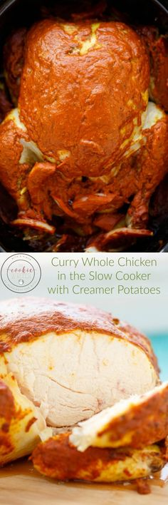 Curry Whole Chicken in the Slow Cooker   http://thecookiewriter.com   @thecookiewriter   #chicken #slowcooker (ad)