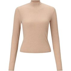 Miss Selfridge Camel Turtle Neck Crop Top (€20) ❤ liked on Polyvore featuring tops, sweaters, camel, pink turtleneck, turtleneck crop top, ribbed crop top, cropped tops and pink cropped sweater