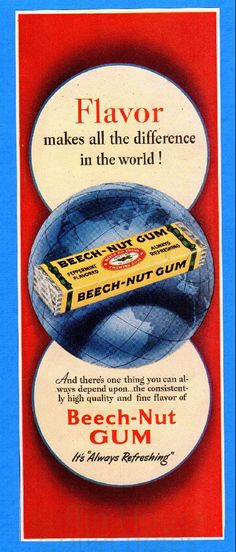 "Vintage 1949 Beech-Nut Gum ""It's Always Refreshing"" Art Decor Original Print Ad by BliffinHouseCollects on Etsy"