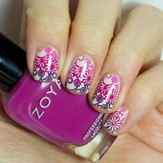 Springtime Floral Gradient Stamping Nail Art