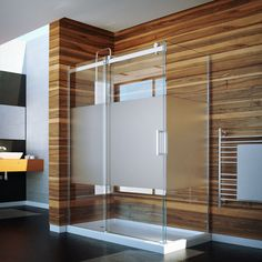 Slik Portfolio Flow - Available in Clear and Frosted Glass. Also available for alcove installation
